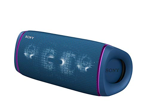 Sony SRS-XB43 tragbarer, kabelloser Bluetooth Lautsprecher (Mehrfarbige Lichtleiste, Lautsprecherbeleuchtung, wasserabweisend, Extra Bass), blau