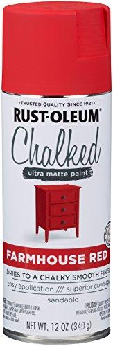 Rust-Oleum 329193 Chalked Ultra Matte Spray Paint, 12 Oz, Farmhouse Red