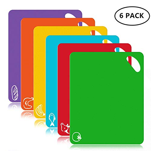 FUKTSYSM Plastic Cutting Board - 6 Pcs Extra Thick Flexible Plastic Chopping Board Mats, With Food Icons and Easy Grip Handles, BPA-Free, Dishwasher Safe, Safe Health