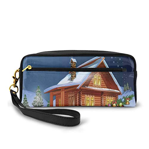 Pencil Case Pen Bag Pouch Stationary,Wooden Lodge with Classic American Truck and Tree Gifts Starry Sky Winter Snow,Small Makeup Bag Coin Purse