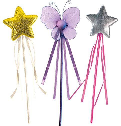 OLYPHAN Princess Wand Kit for Girls – Magical Toy Wands for Dress Up, Halloween Costume, Magic Shows, Cosplay, Birthday Party & Baby Showers, Purple Butterfly & Multi Rainbow Color Star Wands