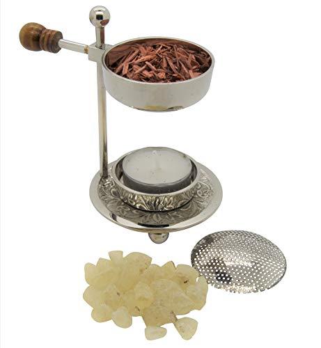 AMAHOFF Weihrauchbrenner verstellbar mit Holzgriff - Silberfarben Räuchergefäß höhenverstellbar zum Räuchern von Weihrauch oder Harzen mit Starterkit