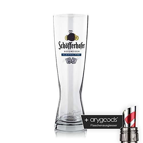 Schöfferhofer Glas/Glas 0,5l Alkoholfrei Bierglas blau Gastro Bar Deko NEU + anygoods Flaschenausgiesser