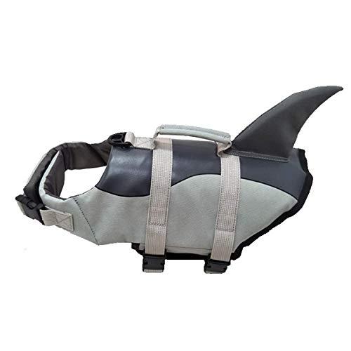 Vohoney Pet Hundeschwimmweste Schwimmweste Badeanzug Hundelebensweste Aqua-Top Größenverstellbar Dog Vest Lifejacket (M, Grau Dog Hundeschwimmweste)