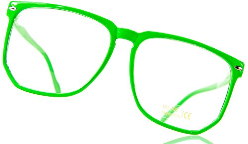 Nerdbrille Neon Grün Streberbrille Hornbrille Geek Pantobrille Lesebrille Klare Gläser