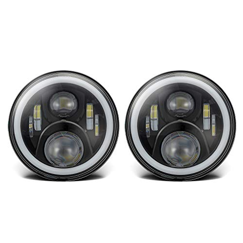 7 Inches H6024 LED Headlights with White Halo Ring...
