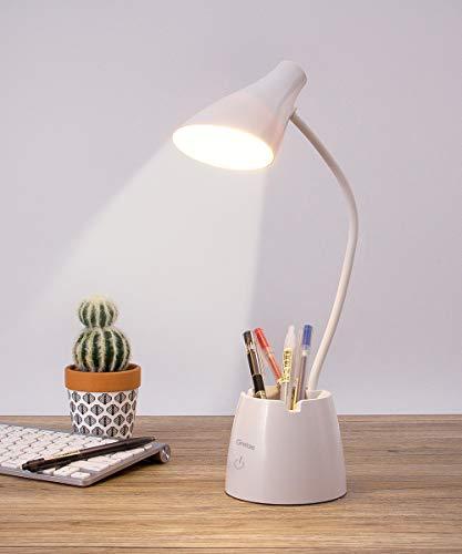 Schreibtischlampe, Augenschutz Schreibtischlampe LED mit 3 Lichtmodi und Dimmbar, Schreibtischlampe Kinder mit Stifthalter und Handy Ständer, Wiederaufladbare Flexibe Schreibtischlampe, Weiß
