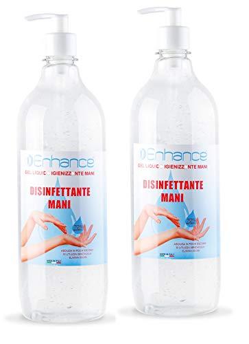 Gel igienizzante mani Enhance Flacone Gel per le Mani ENHANCE 2X 1000 ML totale 2 Litri Alcool 70% per Dispenser Igienizzante Antibatterico Profumo Aloe Vera e lime Contro il 99% di Germi e Batteri