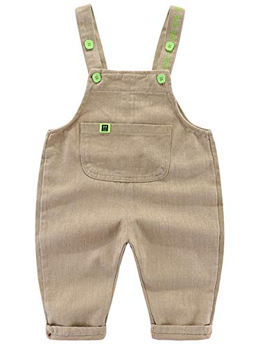 Camilife Baby Jungen Mädchen Basic Denim Latzhosen Overall Baumwolle Jeans Hose mit Hosenträger Bonbon Farben Süß Lieblich - Einfarbig Hellkhaki Größe 80