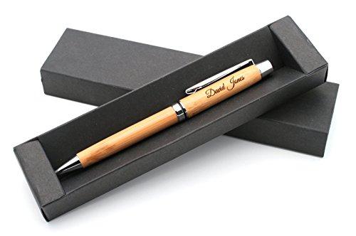 Personalisierter Öko-Kugelschreiber Stift aus Bambus + Geschenkbox | Schaffen Sie ein ganz einzigartiges Geschenk | Lasergravur