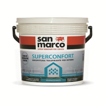 San Marco SUPERCONFORT Pittura per interni anticondensa termoisolante traspirante antimuffa, colore: Bianco, size: 4 lt