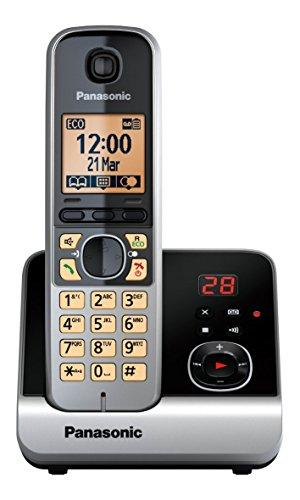 Panasonic KX-TG6721GB Schnurlostelefon (4,6 cm (1,8 Zoll) Display, Smart-Taste, Freisprechen, Anrufbeantworter) schwarz/silber