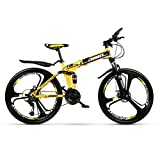 SHIN Bicicleta Btt 26' Mountain Bike Plegable Unisex Adulto Aluminio Urban Bici Ligera Estudiante Folding City Bike,sillin Confort Ajustables,Capacidad 120kg,Doble Freno Disco/Yellow / 21 SP