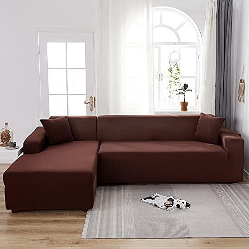 WXQY Sala de Estar Funda de sofá elástica de Color sólido Funda Deslizante elástica Funda de sofá Funda de sillón en Forma de L Funda de sofá A12 3 plazas