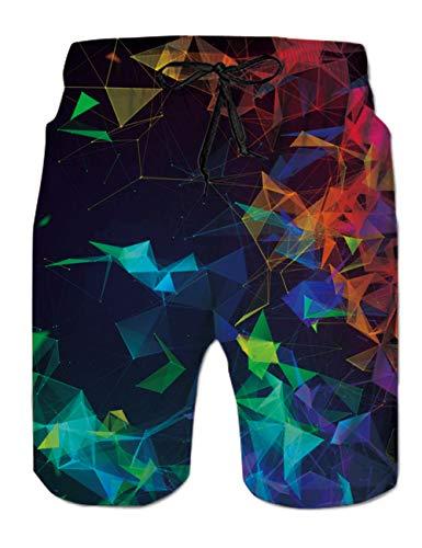 AIDEAONE Herren Strand Surf Shorts Badehose Bunt 3D Badeshorts