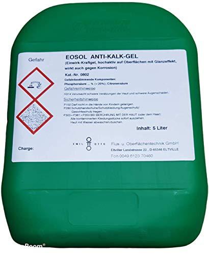 Emil Otto EOSOL Anti-Kalk-Gel -extrem wirksam u. ergiebig-, 5 l Kanister, für Duschwände aus Echtglas, Fliesen, Glas usw.