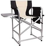 Shaddock Hoher Regiestuhl Klappbar Campingstuhl Leichter Vollaluminiumrahmen Make-up Chair Schminkstuhl mit Seitentisch Fußstütze und Seitentasche