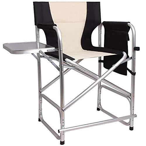 Shaddock Hoher Regiestuhl Klappbar Campingstuhl Leichter Vollaluminiumrahmen Make-up Chair Schminkstuhl mit Seitentisch Fußstütze und Seitentasche, bis zu 136kg belastbar(Black)