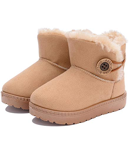 KKIDSS Girls Boys Warm Cute Button Bailey Snow Boots Comfortable Casual Winter Flat Shoes (Toddler/Little Kid) Beige 7 M US Toddler