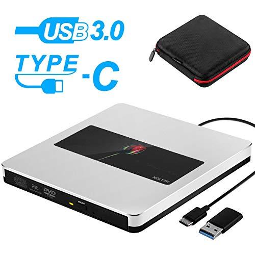 Somdar Externes CD-Laufwerk, USB 3.0, schlankes DVD/CD-ROM-Brenner für Laptop/Desktop/PC/Windows 10