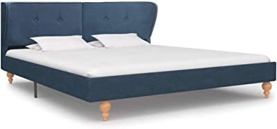 vidaXL Queen Bed Frame Fabric Strong Wood Frame Rubber Legs Slat Support Mattress Foundation Upholstered Bed Bedroom Furniture Blue