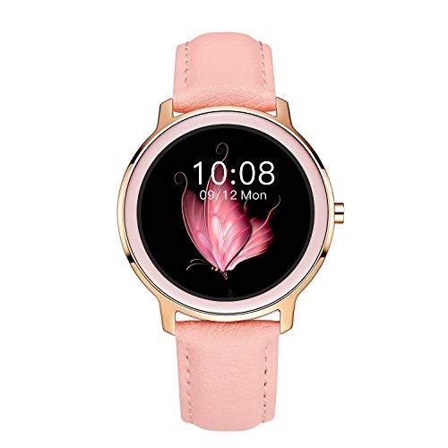Aliwisdom Smartwatch per donna bambini, 1,1 pollici Rotondo Smart watch Fitness Tracker impermeabile orologio fitness per iOS Android, con Promemoria intelligente (cinturino in pelle, rosa)
