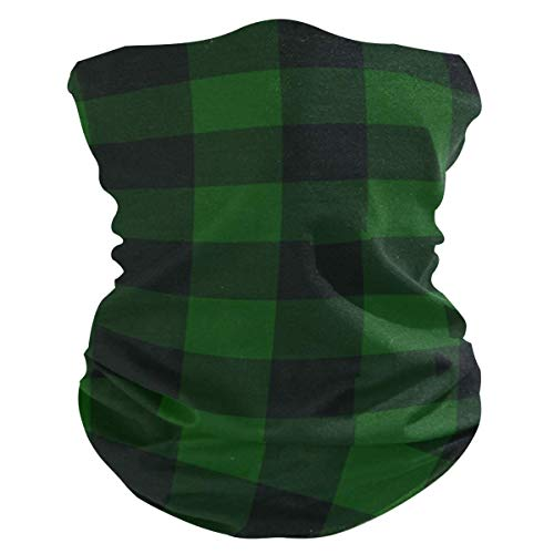 N\ A Vintage Hunter Green Plaid Face Mask UV Sun Mask Dust Wind Neck Gaiter Magic Bandana Women Men