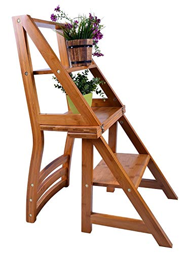 2 in 1 Wooden Ladder and Chair Ladder Chair for Home Office Library UK Furniture