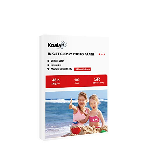 Koala Glossy Photo Paper 5x7 Inches(127mmX178mm) 48lb 100 Sheets Compatible with Inkjet Printer