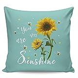 Winter Rangers Fundas de almohada decorativas, diseño de girasol y abeja, color turquesa, funda de almohada ultra suave,...