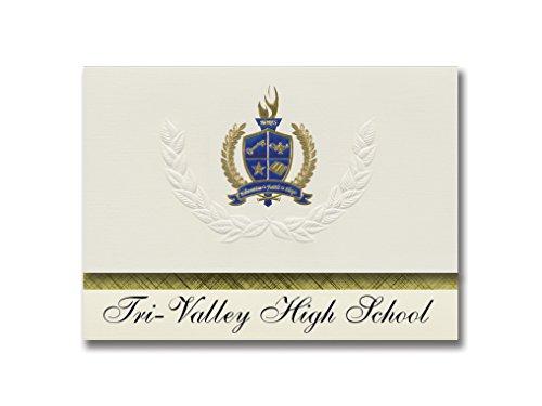 Signature Announcements Tri-Valley High School (Dresden, OH) Graduation Ankündigung, Presidential Style, Elite Paket mit 25 Stück mit Gold & Blau Metallic Folien-Siegel
