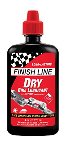 Finish Line Dry Bicycle Chain Lube with Teflon - 4oz Squeeze Bottle