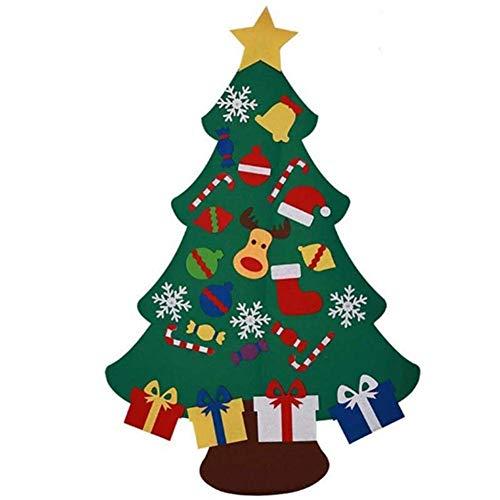 yangGradel DIY Filz Weihnachtsbaum Neujahr Heimdeko Geschenk für Kinder Ornamente Wanddeko umweltfreundlich bunter Weihnachtsbaum Set zum Aufhängen C