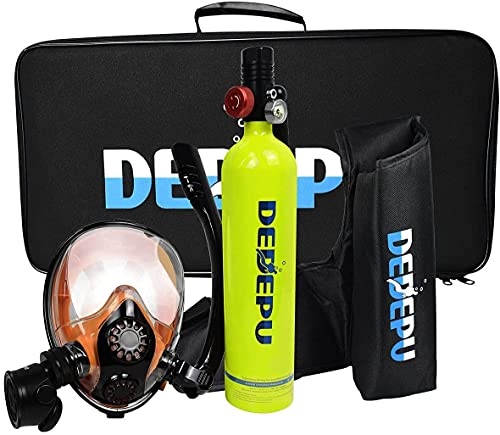 VTAMIN Equipo de Tanque de Buceo, Conjunto de Tanques de oxígeno 1L Mini S5000, con máscara de Snorkel con Capacidad de oxígeno de Buceo de 15-20 Minutos.