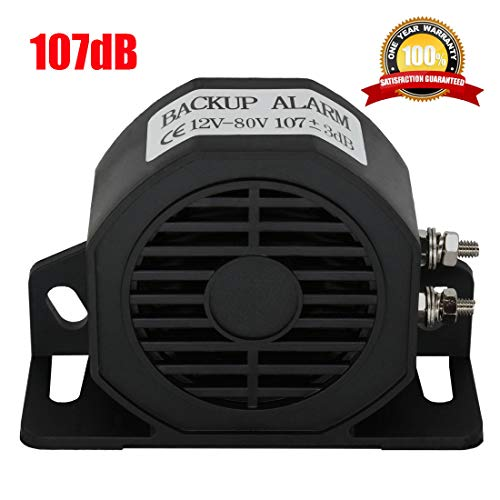 MIRKOO car Back-up Alarm, 107dB 12V-80V DC Waterproof Industrial Heavy-Duty Backup Reverse Warning Alarm with Super Loud Beeper Tone for Truck Van Freight Car Lorry Heavy Vehicles
