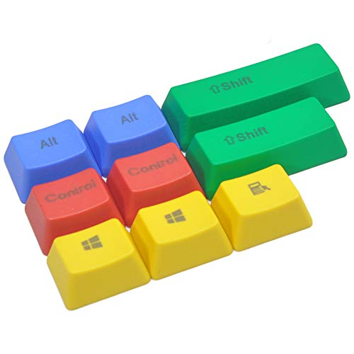 KEEZSHOP Keycaps, 10 Key PBT Keycaps RGBY Teclado mecánico Keycaps Thick PBT Keycool Cherry MX para Corsair IKBC Logitech Razer Type Keycap