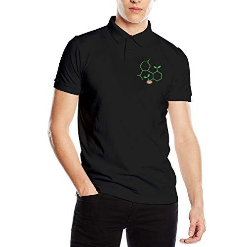 CBD Molecule Cannabis Sprout Mens Short Sleeves Polo Sport Shirt Black