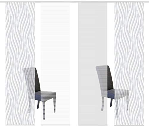 Vision S 94720 | 4er-Set Schiebegardinen Wave | halb-transparenter Stoff in Bambus-Optik | 4X 260x60 cm | Farbe: (grau)