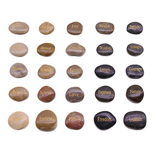 BigOtters Engraved Inspirational Stones, 25 Different Words Encouragement Stones Amulets Gift Stones for Friends and Family