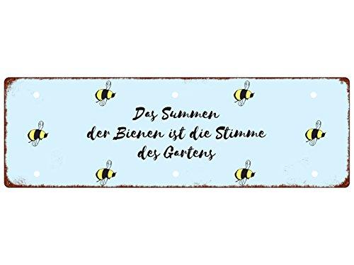 METALLSCHILD Blechschild DAS SUMMEN DER Bienen Imker Garten Shabby Spruch Hobby
