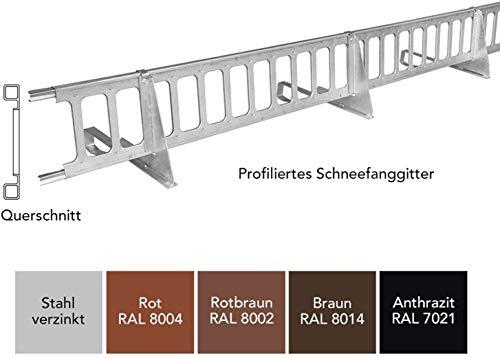 Schneefanggitter Rot, inkl. Auflageschutz 2,0 m, 9-teiliges Set, Made in Germany | 263 kg pro Meter stark, universales Schneefangsystem, blitzschnell montiert