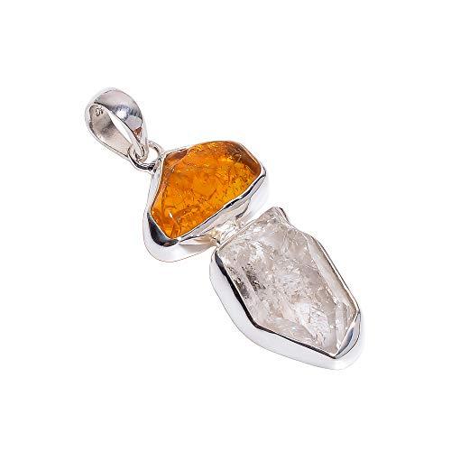 Anhänger aus 925er Sterlingsilber, natürlicher roher Bernstein, Herkimer Diamant, handgefertigter Damenschmuck RSP850