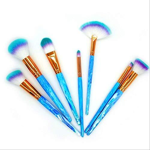Rose Quartz Cosmetics 7 Pièces, Ensemble De Maquillage Brosses Powder Foundation Eye Shadow Brushes Contour Makeup Brushes Mix Cosmetic Brushes Bleu