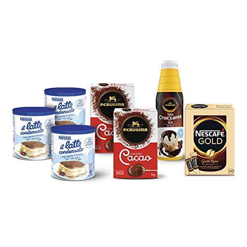 Nestlé Kit per Dolci e Gelati Fatti in Casa con Nestlé il Latte Condensato 3 x 397 g, Perugina Cacao Amaro 2 x 75 g, Perugina Professionale Salsa Croccante Dark 950 g e Nescafé Gold 20 Bustine 34 g