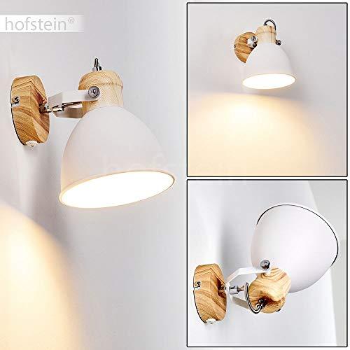 Wandleuchte Banjul, verstellbare Wandlampe aus Metall in Weiß/Holzoptik, 1-flammig, 1 x E27 max. 40 Watt, Retro/Vintage Wandspot mit An-/Ausschalter am Gehäuse, LED geeignet