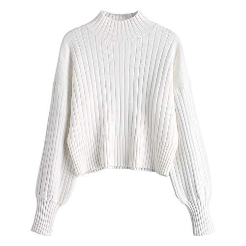 ZAFUL Damen Locker Rollkragenpullover Langarm Sweater Pulli Lose Bluse Pullover Tops(Weiß)