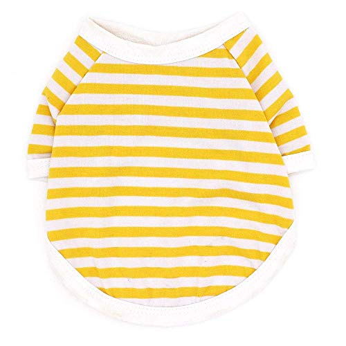 Fenghua, klassiek strepen-T-shirt voor huisdieren, schattig vest, zomerjurk, korte mouwen, geel, maat XS