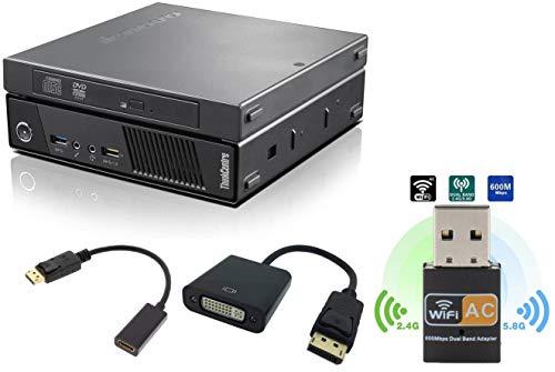 Lenovo ThinkCentre M93P Tiny Desktop, Intel Core i5-4570T, 8GB RAM, 256GB SSD, AC-600 WiFi, HDMI, DVI, VGA, DisplayPort, DVD-RW, Windows 10 Pro 64-bit (Renewed)