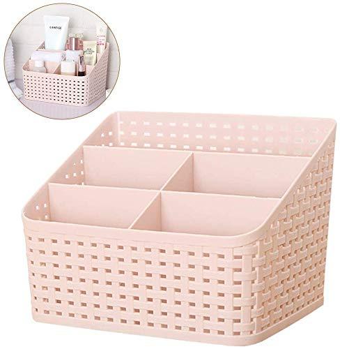 Volibear Cesta de almacenamiento, organizador de cosméticos multifunción, caja de almacenamiento de maquillaje, caja de almacenamiento de plástico, 5 cajas de almacenamiento de subcuadrícula, color rosa