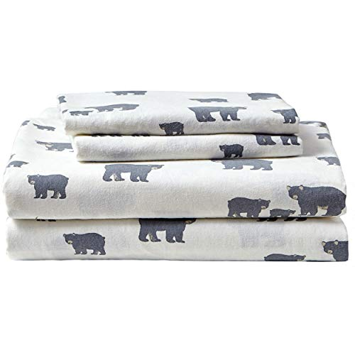 Eddie Bauer - Flannel Collection - 100% Premium Cotton Bedding Sheet Set, Pre-Shrunk & Brushed For Extra Softness, Comfort, and Cozy Feel, Queen, Bear Family